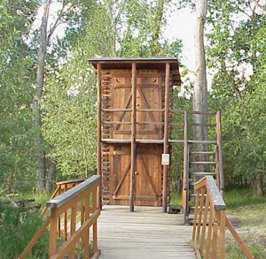 Our famous two-story outhouse. A must-see on your trip to WY.